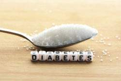Pile of sugar on a spoon and diabetes letters