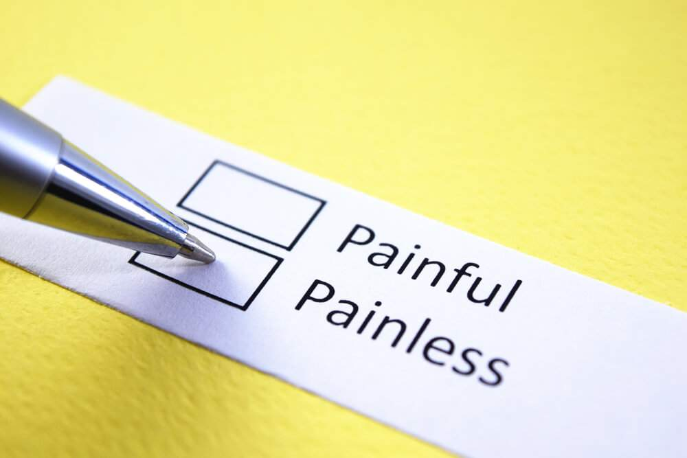 Two tick boxes with 'painful' and 'painless' options