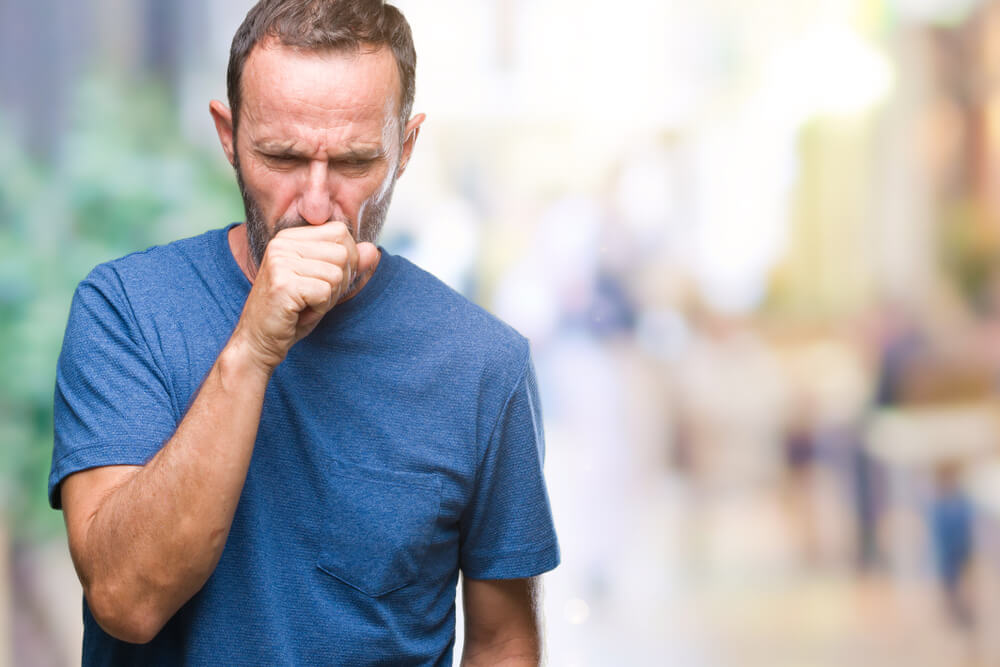A cough is a typical symptom of the inflammation of the lining of the lungs